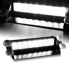 White 8-LED Car Dash Strobe Light Flash Emergency Police Warning Safety Lamp 12v