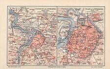Antwerpen Umgebung Berchem Borgerhout Kiel Merxem City Map  Stadtplan v.1893