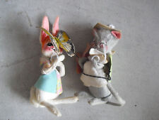"""Lot of 2 Vintage Annalee Animals Mouse and Rabbit with Butterfly 6 1/2"""" Tall"""