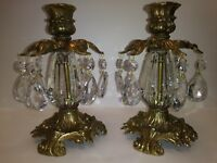 Vintage L&L WMC Candle Holders Glass Tulip Stem/Pair #9320 circa1973 VERY NICE