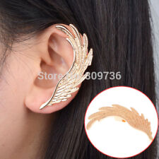 1 PC Feather Ear Cuff One Earring Gold Angel Wing Statement Clip Punk Big Long