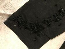Women's Vintage Wrist-length Black Beaded Gloves