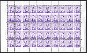 1957 BELGIUM 50 Stamps Full sheet King Boudewijn, OBP 1029, cat.val = 62.00€ MNH