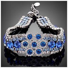 DF101 Handmade With Swarovski Crystals Blue Circle Layered Bracelet $118