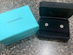 Tiffany & Co SOLESTE HALO Diamond Stud Platinum Earrings Authentic .55 $5800