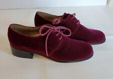 Unused Vtg 90s Plum Velvet Stacked Heel Tie Loafer Shoes Sz 9.5 Aj Valenci