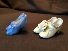 Vintage Set Porcelain Miniature High Heel Shoes 2 Pair Japan