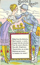 CARTE POSTALE FANTAISIE BONNE ANNEE GUERRE 14/18 WW1 POILU LG 514