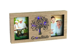 """Grandkids Tree Wooden 4""""x 6"""" Collage Photo Picture Frame LED Light Colour Change"""