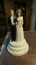 Vintage Coast Novelty BRIDE & GROOM WEDDING CAKE TOPPER Chalkware, 5-1/2""