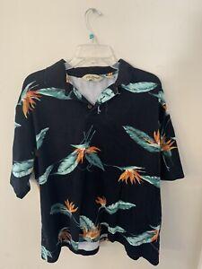 Cooke Street Honolulu Mens Blue Hawaiian Flowers Polo Shirt Size Large