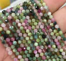 3mm Natural Tourmaline Assorted Stones Faceted Rondelle  Beads ForJewelry Making