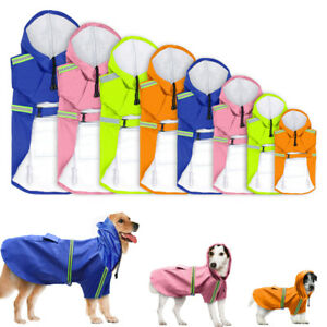Small Large Dog Raincoat Waterproof Pet Clothes Rain Jacket Hoodie Reflective