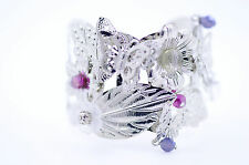 Art Deco tre argento farfalle fiori bracciale aperto