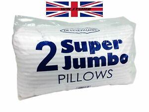 Jumbo Pillows Pair 2 pcs Hotel Style White Big Striped King Size White Large UK