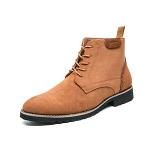 Korean Mens Lace Up Pointy Toe Casual Faux Leather Ankle Boots Shoes Eur 38-46