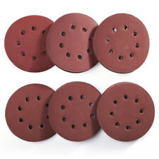 60PCS 5 inch 8 Hole Hook and Loop Round Sandpaper Discs Sanding Sheets USA
