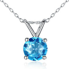 Brilliant Natural Genuine Round Blue Topaz Pendant 14kt Solid White Gold Chain