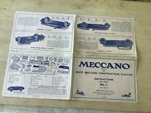 Meccano Construction Car No 1 Instruction Book 1933. French.