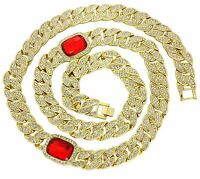 Mens Iced Out Miami Cuban Link 14k Gold Plated Red Ruby Simulate HipHop Necklace