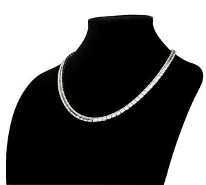 """14k White Gold Baguette and Round Diamond Tennis Necklace TCW = 28 Cts 21.5"""""""