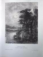 A. MORLOT gravure lithographie Lever de Lune moon raise