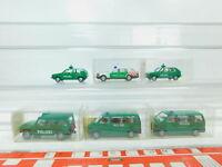 BN93-0,5# 6x Wiking H0/1:87 Polizei-PKW: 109/104 VW + 106/103 MB etc NEUW+5x OVP
