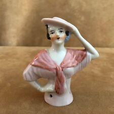 Antique Porcelain Half Doll Lady Pin Cushion top bust Japan flapper hat woman