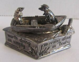 SILVER SCENES DIAMOND TRINKET BOX, WIND IN THE WILLOWS Silver Plated Ratty 1995