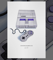 Super Nintendo Entertainment System SNES Console Controller Illustrated Poster