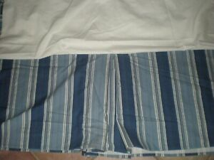 Waverly Williamsburg Spotswood Stripe Queen Bed Skirt Blue Porcelain Colonial