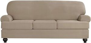 Sure Fit faux stretch Suede linen cement Sofa Slipcover 3 cushion t or box