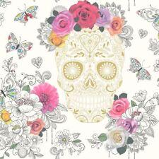 Rasch Mexican Skull Pattern Wallpaper Metallic Motif Heart Rose Butterfly 278026