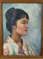 Vintage 1961 Original Painting Oriental Geisha Portrait Japanese Jean Keathley