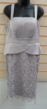 LADIES SILVER SATIN LACE DETAIL  EVENING / PARTY DRESS SIZE 12 BNWT