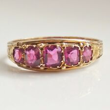 Antique Victorian 12ct Gold Pink Tourmaline Five Stone Ring c1876; UK Size 'M'