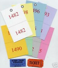 500 REVERSE RAFFLE TICKETS - DOUBLE NUMBERED ADMISSION Coat Claim Check Large #