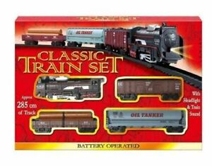 Kids Classic Battery Operated Train Set Toy With Tracks Light Engine Carriages