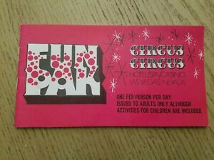 VTG 1972 Circus Circus Casino Hotel Las Vegas Strip Nevada FunPak Fun Book Card