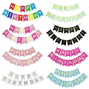 Happy birthday party banner bunting decoration gold Garlands, Flags celebration