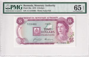 1978 Bermuda 5 Dollars P-29a S/N A/1 216466 PMG 65 EPQ Gem UNC