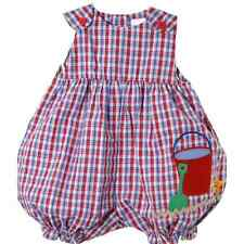 Sweet Petit Ami Red Blue Plaid Baby Girl Bubble Romper w/Sand Pail, Boutique