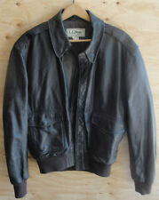 Vintage L.L Bean Mens A-2 Brown Goatskin Leather Flight Jacket sz 40 Made in USA