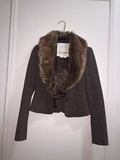 Guess plaid fur collar jacket size small