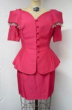 Vintage 80's Hot Pink 2 Pc Off Shoulder Crystal Trim COCKTAIL EVENING PROM Sz 10