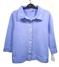 NEW FRESH PRODUCE Periwinkle Blue Sweatshirt Jacket sz M 3/4 Sleeves 100% Cotton