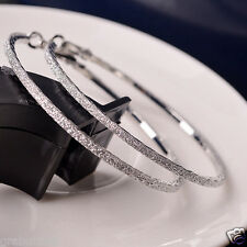 Silver 6CM Hoop Round Earring Rhinestone Large Ear Ring Fashion Gift For Women