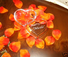 Engraved Heart Shaped Glass Jewelry Holder Box Wed Gift
