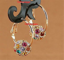 18K Rose Gold Gp Austrian Crystal Ball Hoop Jewerlry Earring/Earrings BR929