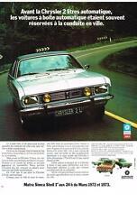 PUBLICITE  1973    SIMCA   MATRA CRYSLER  2L automatique